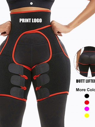 Red Rough Surface Neoprene Thigh Slimmer Belts High-Compression