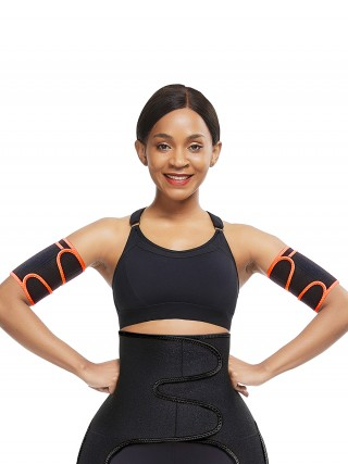 Snug Orange 2Pcs Neoprene Arm Trimmers With Pockets Curve Smoothing