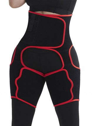 Abdominal Slimmer Red High-Waist Thigh Trimmer With Pocket Sleek Curves
