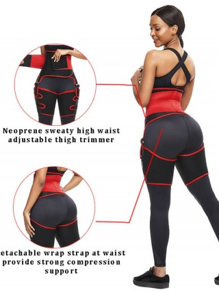 Tight Red Neoprene Thigh Trainer High Waist Adjustable Breathability