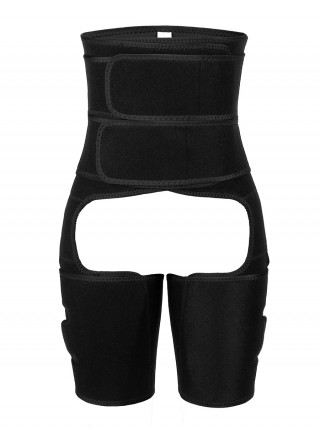 Sleek Black Double Belts Solid Color Thigh Shaper Amazing Shape