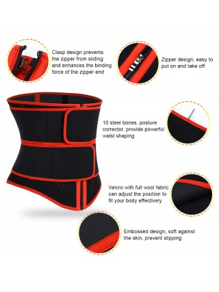 Tummy Training Red 10 Steel Bones Waist Cincher Zipper Soft-Touch