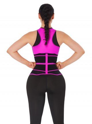 Rose Red Double-Belt Neoprene Waist Shapewear Vest Slimming Tummy