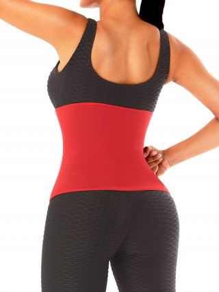 Red No Steel Bones Neoprene Waist Cincher Hidden Curves