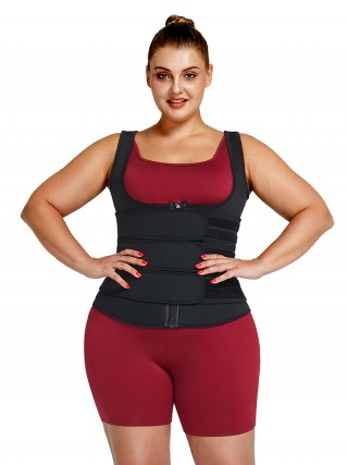 Black Neoprene Waist Trainer Plus Size Three-Belt Fat Burning
