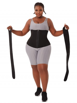 Black Neoprene Waist Trainer Big Size Detachable Belts Waist Control