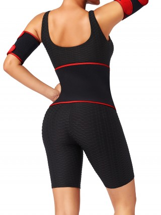 Red Patchwork Neoprene Embossed Waist Belt High-Compression