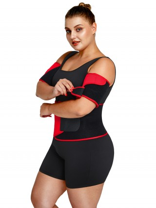 Red 2Pcs Colorblock Neoprene Arm Trimmers Sensual Curves