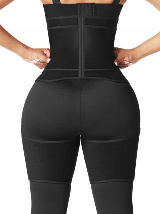 Black Neoprene Zipper Waist And Thigh Shaper Tummy Slimmer