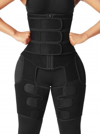 Black 3 Belts Tummy And Thigh Shaper Neoprene Waist Control