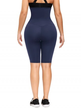 Dark Blue Anti-Slip Strip Midi Length Butt Lifter Firm-Compression