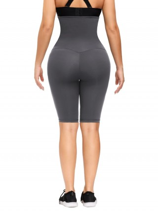 Gray High Rise Waist Trainer Shapewear Leggings Fat Burning
