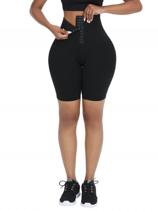 Black High Waist 2-In-1 Waist Trainer Shorts Mid-Thigh Wholesale Online