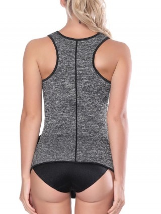 Light Gray Neoprene Vest Wide Strap Zip Sticker Slimming Waist