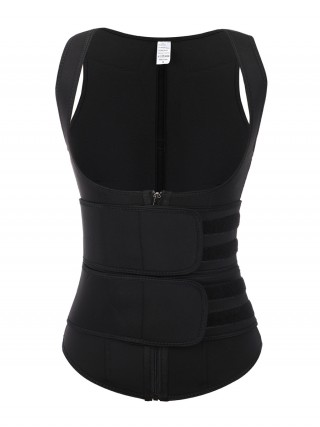 Exquisite Black Neoprene Cami Shaper Solid Color Double Waist