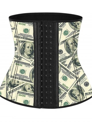 Pre-Sale Money Pattern Latex Waist Cincher With Hooks Curve Creator