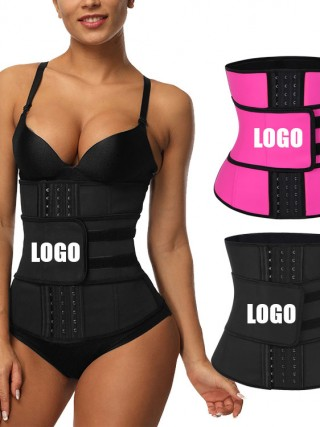 Black Big Size Latex Waist Trainer 7 Steel Bones Slimming Belly