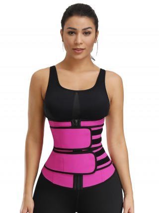 Rose Red Undetectable Double Belts Latex Waist Trainer Stretch
