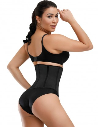 Super Faddish Black 9 Steel Bones Latex Waist Trainer Large Size Fat Burning
