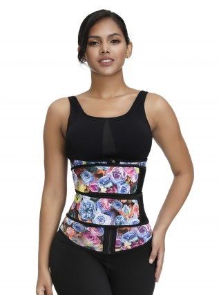 Slimmed Rose Print Waist Cincher Double Belts Slim