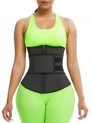 Sculpting Black Belt Waist Cincher Zipper Sticker Unique Fashion