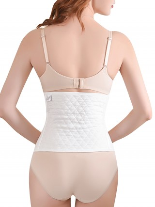 Simplicity White Solid Color Postpartum Recovery Waist Belt Firm Control