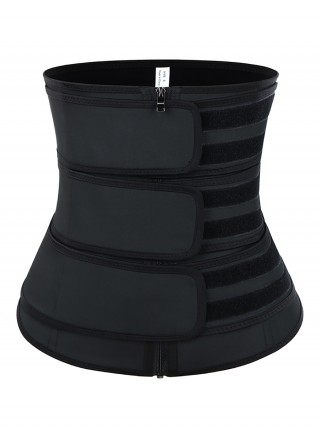 Plain Black Three Belts Latex Waist Trainer Big Size Firm Control