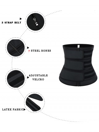 Black Three Belts Latex Waist Trainer Big Size Calories Burning