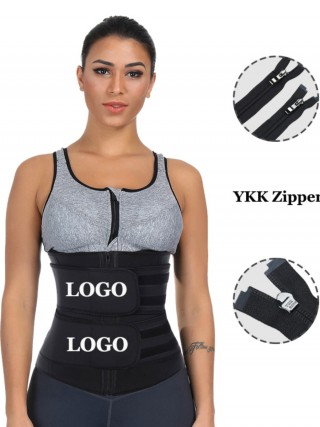 Black Big Size Latex Waist Slimmer With YKK Zipper Body Shapewear