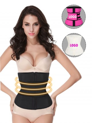 Black Zipper Plus Size Latex Waist Cincher Belt High Compression