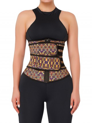 Flexible African Print Latex Waist Trainer Double-Belt Waist Control