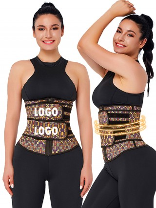 African Print Latex Waist Trainer With Zipper Double-Belt Waist Control
