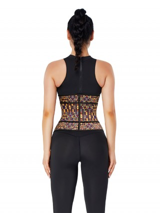 Zipper African Printing Fitness Latex Waist Trainer Hourglass Figure