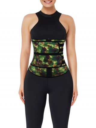 Camo Latex Double Belts Waist Trainer Slimming Stomach