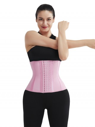 Pink 4 Rows Hook Latex Waist Cincher Belt Three-Layer Waist Control