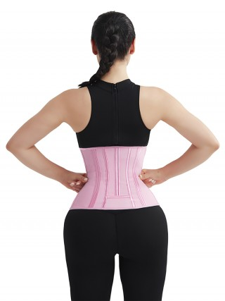 Waist Slimmer Pink 4 Rows Hook Waist Cincher Three-Layer