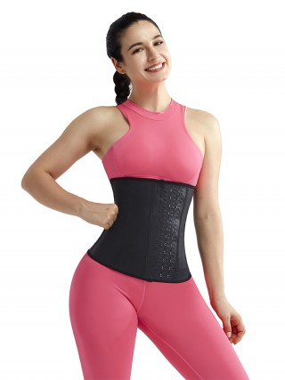 Effective Black Latex 9 Steel Bones Waist Trimmer Big Size Ladies