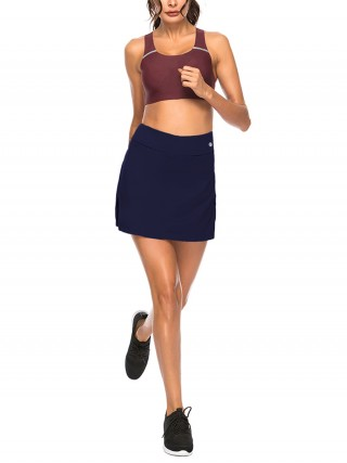 Stretched Dark Blue Tennis Skirt Solid Color High Rise For Women Runner