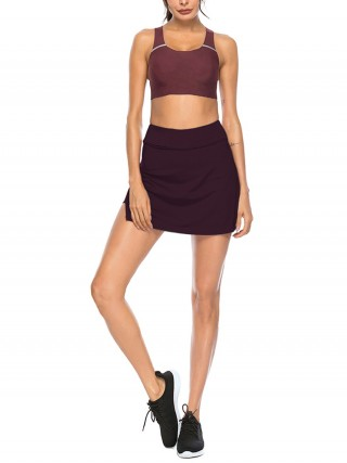 Stretchable Purplish Red Solid Color High Waist Tennis Skirt For Lounging