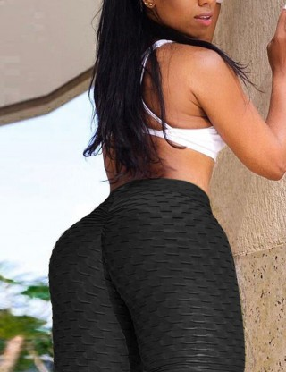 Black Tight Solid Color Jacquard Bike Gym Shorts Understated Design