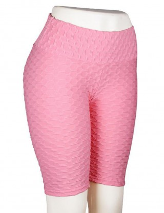 Fetching Pink High Wasit Bike Gym Shorts Jacquard Weave For Beauty