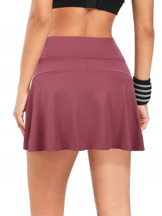 Inspired Jujube Red High Waist Tennis Skirt With Pockets