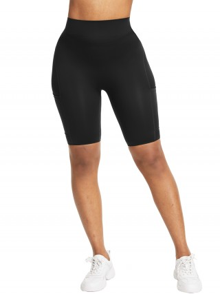 Delicate Black Side Pocket High Waist Running Shorts Forward Women