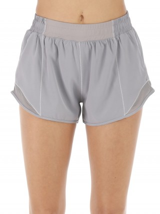 Ravishing Gray Mini Length Athletic Shorts Patchwork Fitness