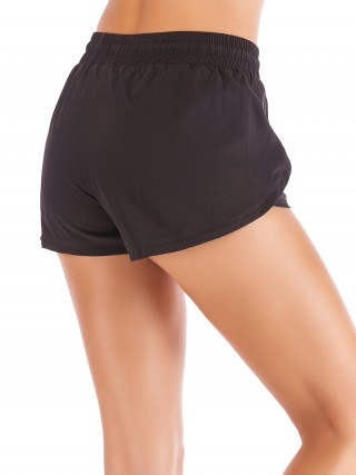 Daring Black Tulip Hem Solid Color Running Shorts Ladies Activewear