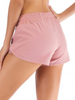 High Elastic Light Pink Drawstring Sports Short Moisture-Wicking