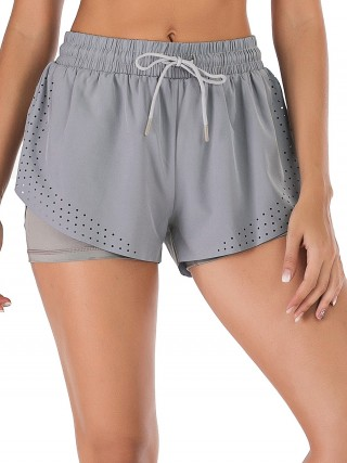 Delicate Gray Gym Shorts Elastic Waist Double Layers Fitness