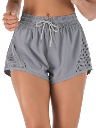 Post Surgery Gray Double-Layer Side Pocket Athletic Shorts Leisure Wear