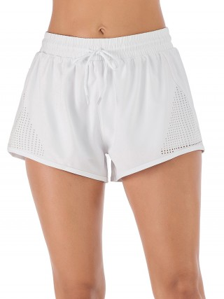 White Drawstring Pockets Gym Shorts Solid Color Athletic Apparel