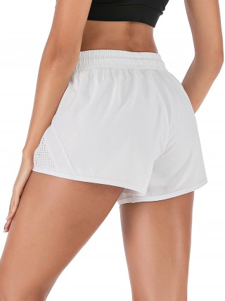 Vivid Flawless White Drawstring Pockets Gym Shorts Solid Color Refined Outfit